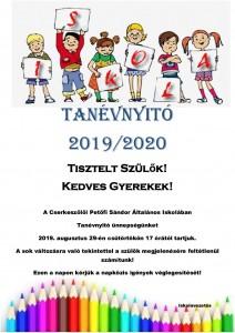 Tanévnyitó plakát Cserke